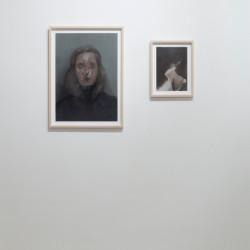 """Nazzarena Poli Maramotti, sx """"Ritratto VI"""" 60x42cm, dx """"Landschaft (nero)"""", 30x20cm, oil on paper, 2011"""