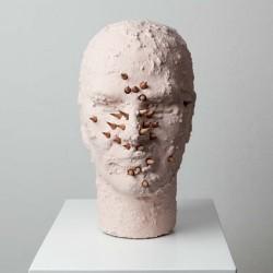 """Davide Mancini Zanchi """"autoritratto con matite"""", polistirolo sabbiato e dipinto, matite, 2012 (bozzetto)"""