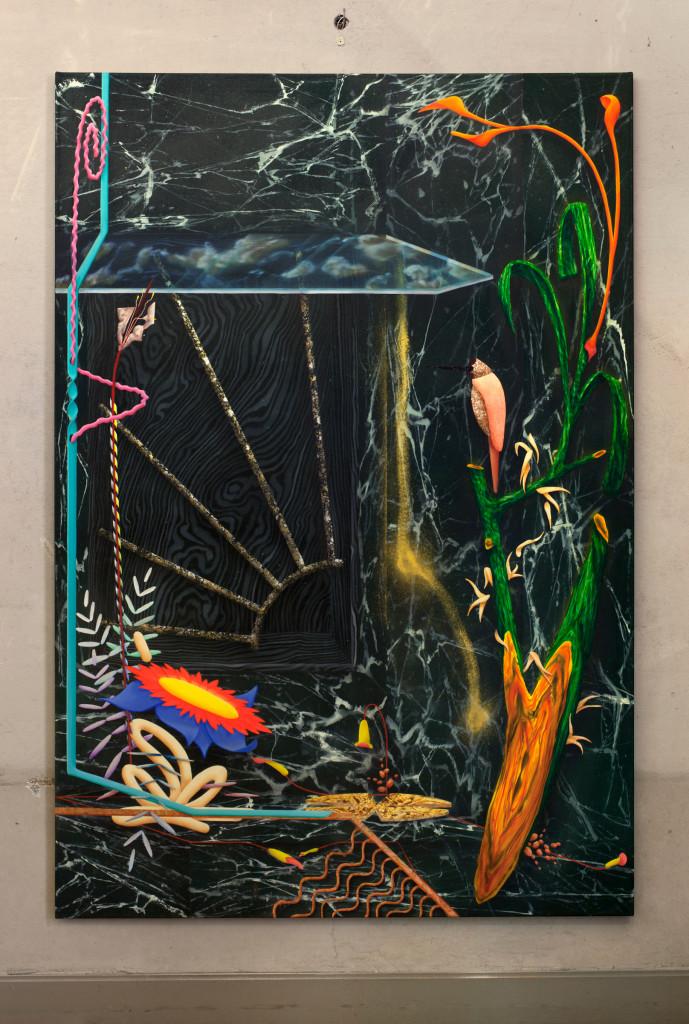 019. David Czupryn Untitled 2014 oil and metal on canvas 190x130cm - courtesy AplusB Brescia