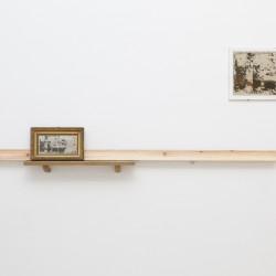 Marco Gobbi, Far from what once was, quadro trovato, legno di cirmolo, olio su tavola, metallo, dimensioni variabili, 2014.