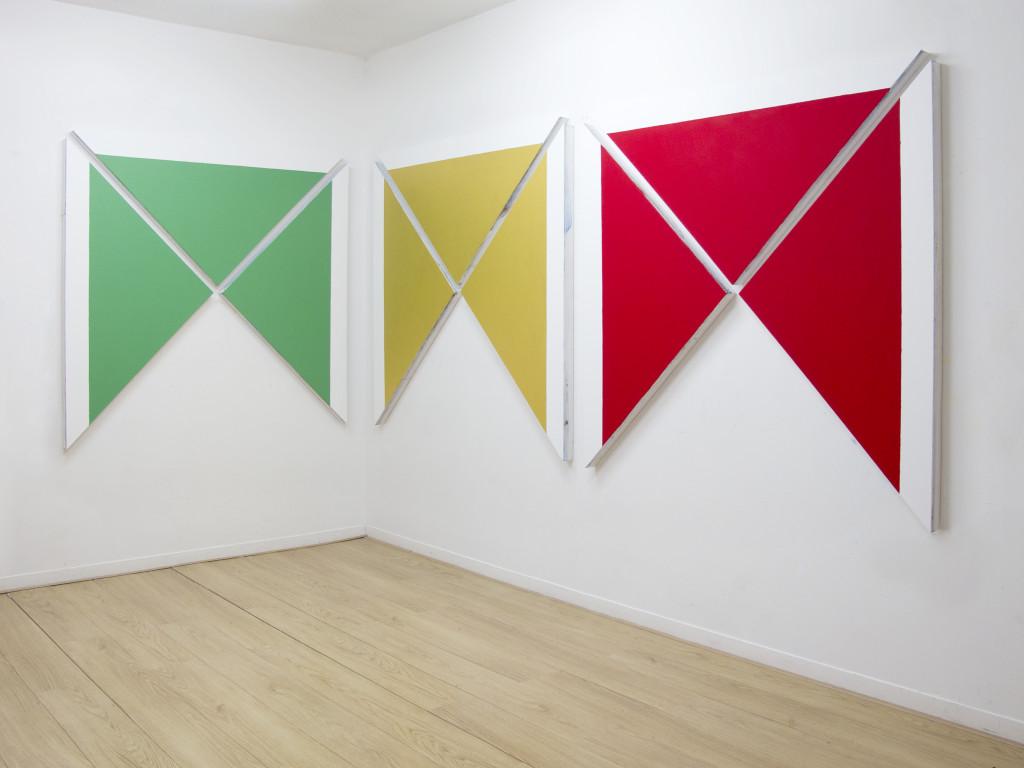 DMZ, 3 volte 3 volte 3, acrylic on canvas, 150x450cm