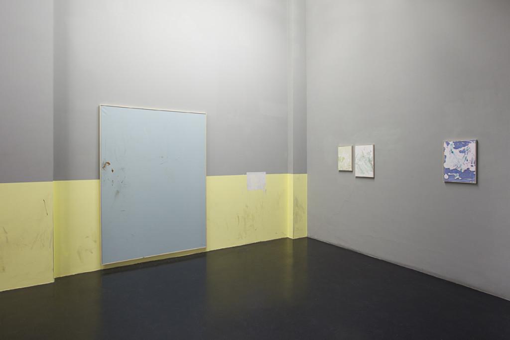 Tiziano Martini, untitled, 2014, acrylic paint, acrilic enamel,, spray paint, dirt and tar on cotton, wooden frame, 212x152 cm