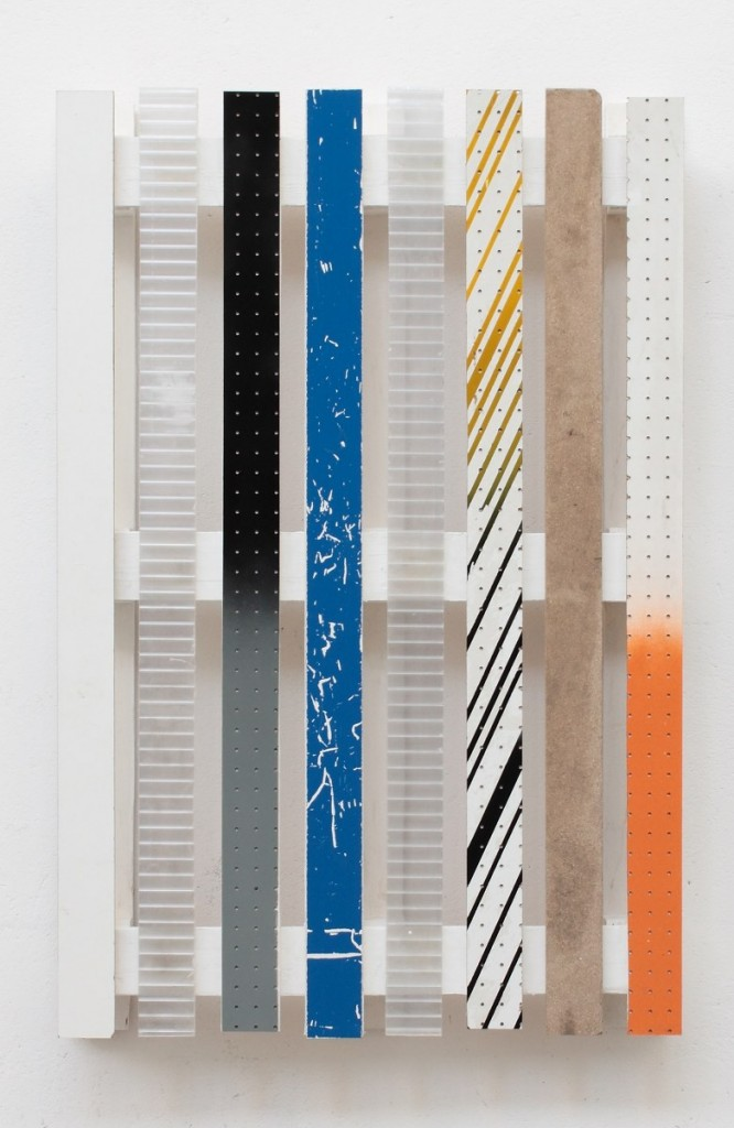 tiziano martini untitled, 2012, wooden pallet, nails, acrylic paint, plexiglass, chipboard, formica, adhesive film, found materials, dispersion glue, spray paint, cm 120x80x14